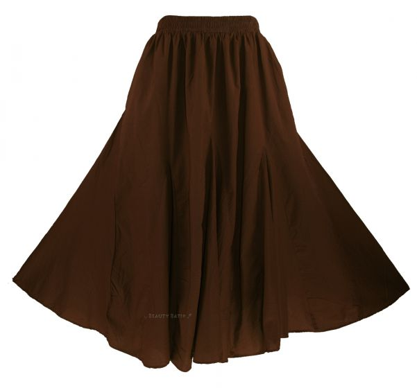 0530514083 Super flare maxi skirt in classic godet cutting style. It is made of 100%  cotton with half-lining. Built with elastic waist and inner pockets at both  side.