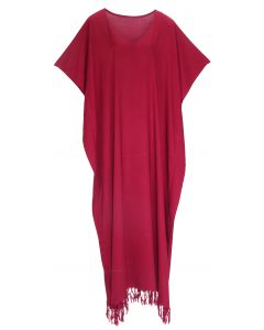 Maroon Caftan Kaftan Loungewear Maxi Plus Size Long Dress 3X 4X