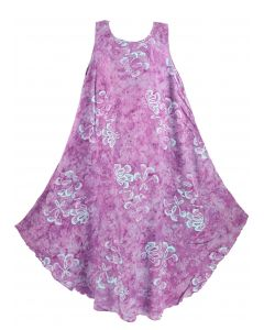 Purple Batik Caftan Tunic Tank Sleeveless Dress Cover Up Plus Sz 1X 2X