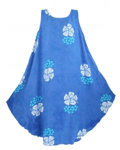 Blue Batik Caftan Tunic Tank Sleeveless Dress Cover Up Plus Sz XL