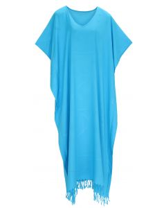Turquoise Caftan Kaftan Loungewear Maxi Plus Size Long Dress 3X 4X
