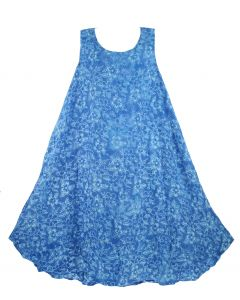 Blue Batik Caftan Tunic Tank Sleeveless Dress Cover Up Plus Sz 1X 2X