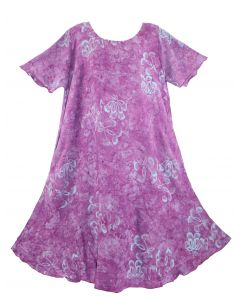 Purple Batik Caftan Tunic Tank Short Sleeve Long Dress Cover Up Plus Sz 1X 2X