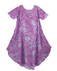 Purple Batik Caftan Tunic Tank Short Sleeve Long Dress Cover Up Plus Sz XL