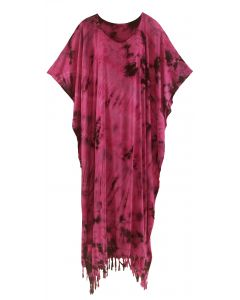 Fuchsia Tie Dye Caftan Kaftan Maxi Long Dress 1X 2X 3X 4X
