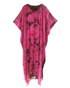 Fuchsia Tie Dye Caftan Kaftan Loungewear Maxi Plus Size Long Dress XL to 4X