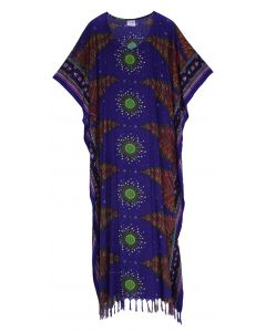 Dark blue Flora Plus Size Kaftan Kimono Loungewear Maxi Long Dress 3X 4X