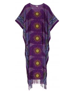 Purple Flora Plus Size Kaftan Kimono Loungewear Maxi Long Dress 3X 4X