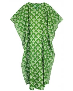 Green Hand Blocked Batik Hippie Caftan Kaftan Loungewear Maxi Plus Size Long Dress 3X 4X
