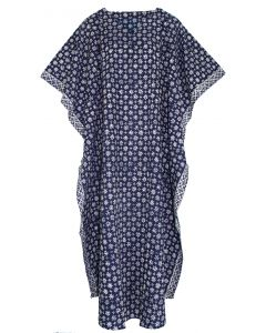 Dark blue Hand Blocked Batik Hippie Caftan Kaftan Loungewear Maxi Plus Size Long Dress 3X 4X