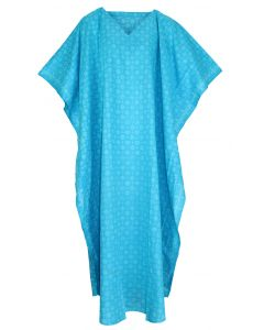 Blue Hand Blocked Batik Hippie Caftan Kaftan Loungewear Maxi Plus Size Long Dress 3X 4X