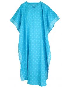 Turquoise Hand Blocked Batik Hippie Caftan Kaftan Loungewear Maxi Plus Size Long Dress 3X 4X