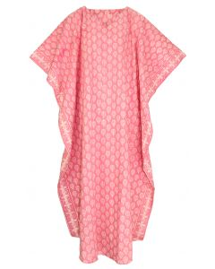 Pink Hand Blocked Batik Hippie Caftan Kaftan Loungewear Maxi Plus Size Long Dress 3X 4X