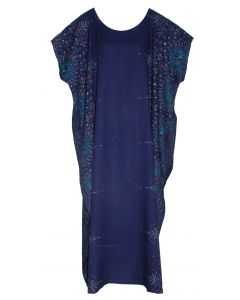 Dark blue Bohomein Flora Plus Size Kaftan Kimono Loungewear Maxi Long Dress XL 1X 2X