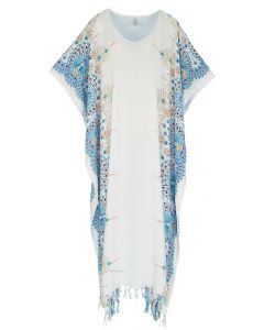 White Flora Plus Size Kaftan Kimono Loungewear Maxi Long Dress 3X 4X
