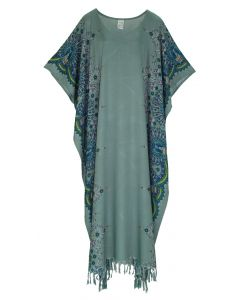 Grey Flora Plus Size Kaftan Kimono Loungewear Maxi Long Dress 3X 4X