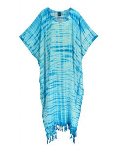 Blue Hippie Tie Dye Caftan Kaftan Loungewear Maxi Plus Size Long Dress XL to 4X