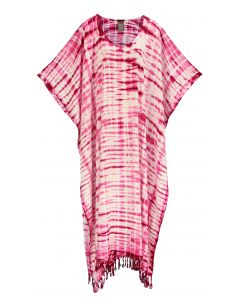 Fuchsia Hippie Tie Dye Caftan Kaftan Loungewear Maxi Plus Size Long Dress XL to 4X
