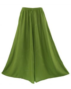 Avocado green Women Palazzo Wide Leg Pants Trouser Plus Size 1X 2X 20 22