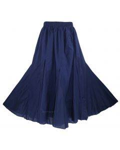 Navy blue Cotton Gypsy Long Maxi Godet Flare Skirt 1X 2X