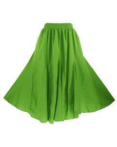 Avocado green Cotton Gypsy Long Maxi Godet Flare Skirt 1X 2X