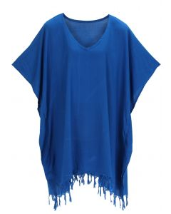 Teal blue Hippie Tunic Blouse Kaftan Top 1X 2X 3X 4X