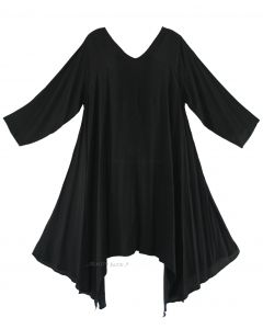 Black Plus Size Solid Basic Flowy Short Sleeve Long Tank Tunic Tops 1X