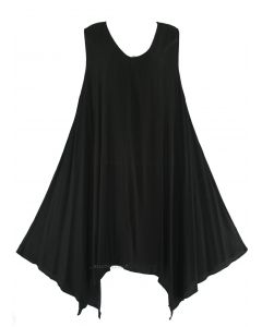 Black Plus Size Solid Basic Flowy Sleeveless Long Tank Tunic Tops 1X