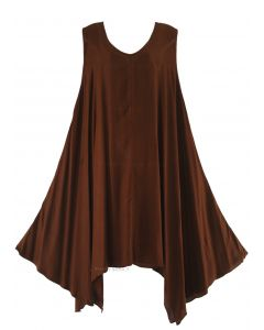 Brown Plus Size Solid Basic Flowy Sleeveless Long Tank Tunic Tops 1X