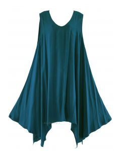 Teal blue Plus Size Solid Basic Flowy Sleeveless Long Tank Tunic Tops 1X
