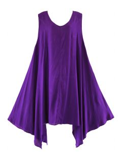 Purple Plus Size Solid Basic Flowy Sleeveless Long Tank Tunic Tops 1X