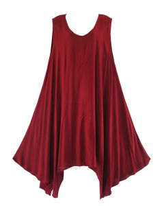 Maroon Plus Size Solid Basic Flowy Sleeveless Long Tank Tunic Tops 1X