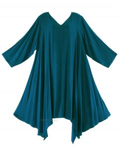 Teal blue Plus Size Solid Basic Flowy Short Sleeve Long Tank Tunic Tops 1X