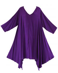 Purple Plus Size Solid Basic Flowy Short Sleeve Long Tank Tunic Tops 1X