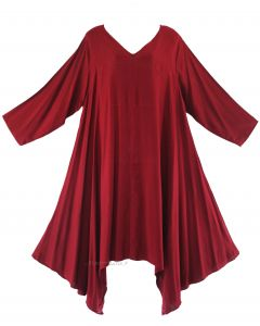 Maroon Plus Size Solid Basic Flowy Short Sleeve Long Tank Tunic Tops 1X