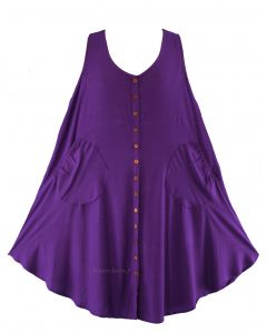 Purple Lagenlook Plus Size Sleeveless Vest Tunic Top 0X 1X