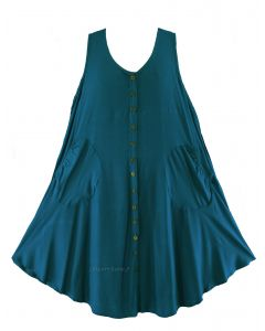 Teal blue Lagenlook Plus Size Sleeveless Vest Tunic Top 0X 1X