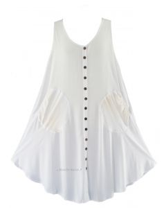 White Lagenlook Plus Size Sleeveless Vest Tunic Top 0X 1X