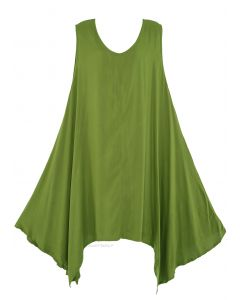 Avocado green Plus Size Solid Basic Flowy Sleeveless Long Tank Tunic Tops 1X