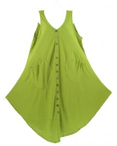 Avocado green Lagenlook Plus Size Sleeveless Vest Tunic Top 0X 1X