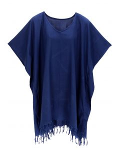 Navy blue Hippie Tunic Blouse Kaftan Top 1X 2X 3X 4X