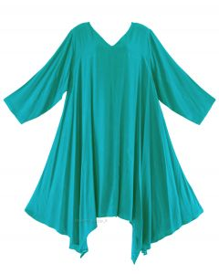 Turquoise Plus Size Solid Basic Flowy Short Sleeve Long Tank Tunic Tops 1X