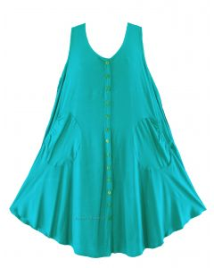 Turquoise Lagenlook Plus Size Sleeveless Vest Tunic Top 0X 1X