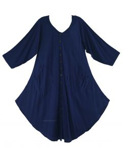Navy blue Long Sleeve Lagenlook Plus Size Vest Tunic Top 0X 1X