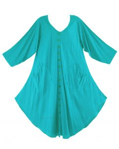 Turquoise Long Sleeve Lagenlook Plus Size Vest Tunic Top 0X 1X