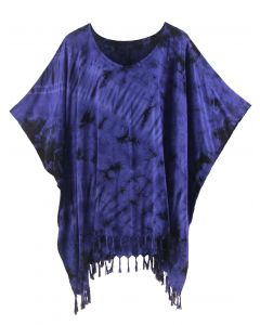 Dark blue HIPPIE Batik Tie Dye Tunic Blouse Kaftan Top XL to 4X