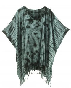 Grey HIPPIE Batik Tie Dye Tunic Blouse Kaftan Top XL to 4X