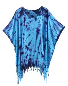 Blue HIPPIE Batik Tie Dye Tunic Blouse Kaftan Top XL to 4X