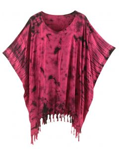 Fuchsia HIPPIE Batik Tie Dye Tunic Blouse Kaftan Top XL to 4X