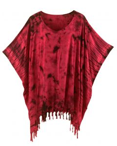 Red HIPPIE Batik Tie Dye Tunic Blouse Kaftan Top XL to 4X